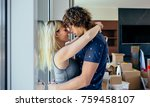 couple hugging in the living... | Shutterstock . vector #759458107