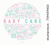 baby care concept in circle... | Shutterstock .eps vector #759459403