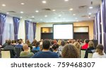 audience in the lecture hall at ... | Shutterstock . vector #759468307