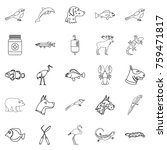 sick animal icons set. outline... | Shutterstock .eps vector #759471817