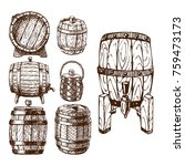 wooden barrel vintage old style ... | Shutterstock .eps vector #759473173