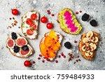 healthy breakfast toasts with...   Shutterstock . vector #759484933