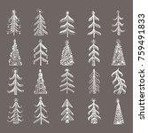hand drawn ornamental christmas ... | Shutterstock .eps vector #759491833