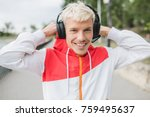 smiling attractive blond... | Shutterstock . vector #759495637