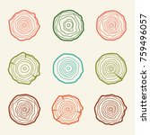 Tree Rings Icons Vector...