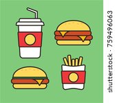 fast food snacks and drinks... | Shutterstock .eps vector #759496063