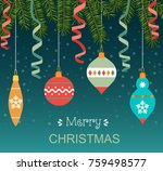 christmas balls and  ribbons... | Shutterstock .eps vector #759498577