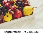 red fresh juice with apples ... | Shutterstock . vector #759508633