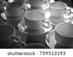 cup of coffee  black and white. | Shutterstock . vector #759513193