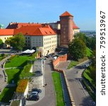 Small photo of KRAKOW POLAND 09 14 17: Wawel Castle is a castle residency located in central Krakow, Poland. Built at the behest of King Casimir III the Great