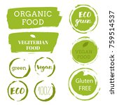 healthy food labels. organic... | Shutterstock .eps vector #759514537