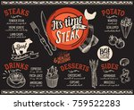 steak menu for restaurant and... | Shutterstock .eps vector #759522283