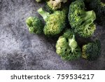 bunch of fresh green broccoli... | Shutterstock . vector #759534217