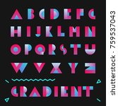typography font with gradient.... | Shutterstock .eps vector #759537043
