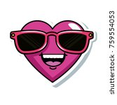 cute heart with sunglasses... | Shutterstock .eps vector #759554053