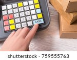 woman hand working with... | Shutterstock . vector #759555763