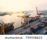 container container ship in... | Shutterstock . vector #759558823