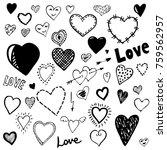 set of heart doodles. hand... | Shutterstock .eps vector #759562957