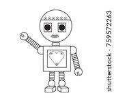 cartoon robot icon over white... | Shutterstock .eps vector #759572263