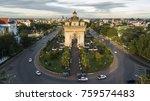 drone photo of patuxai  war... | Shutterstock . vector #759574483