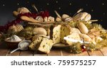bread and christmas cake on the ... | Shutterstock . vector #759575257