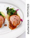 grilled pork medallions with... | Shutterstock . vector #759575323