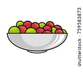 bowl with fresh grapes | Shutterstock .eps vector #759583873