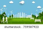 eco green city. environment... | Shutterstock .eps vector #759587923
