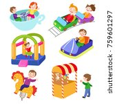 set of kids in amusement park ... | Shutterstock .eps vector #759601297