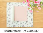 top view of open book with... | Shutterstock . vector #759606337
