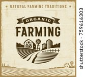 vintage organic farming label.