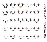 Stock vector cartoon kawaii eyes and mouths cute emoticon emoji characters in japanese style vector emotion 759616537