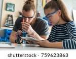 father and daughter fixing... | Shutterstock . vector #759623863