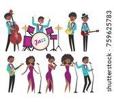cartoon jazz artists characters ... | Shutterstock .eps vector #759625783