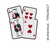 hearts suit french playing... | Shutterstock .eps vector #759626617