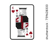 king of hearts french playing... | Shutterstock .eps vector #759628333