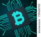 3d rendering  bitcoin chip and... | Shutterstock . vector #759630703