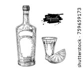 tequila bottle and shot glass... | Shutterstock .eps vector #759659173