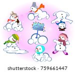 set of winter holidays snowman... | Shutterstock .eps vector #759661447