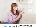 middle age woman relaxing on... | Shutterstock . vector #759678307