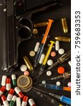 sales of narcotics. weapon and... | Shutterstock . vector #759683353