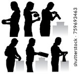 vector silhouettes of a woman... | Shutterstock .eps vector #759693463