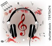 background with headphones and... | Shutterstock .eps vector #75970474