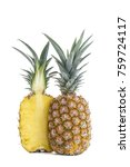 pineapple cut in haflf full... | Shutterstock . vector #759724117