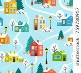 winter snowy town or village... | Shutterstock .eps vector #759730957