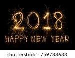happy new year 2018 written... | Shutterstock . vector #759733633