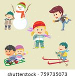vector illustration of happy... | Shutterstock .eps vector #759735073