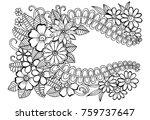 doodle floral frame in black... | Shutterstock . vector #759737647