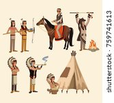 american indians icons set | Shutterstock .eps vector #759741613
