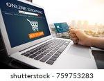 online shopping concept.female...   Shutterstock . vector #759753283